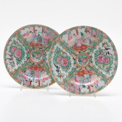 Chinese Rose Medallion Ceramic Decorative Plates