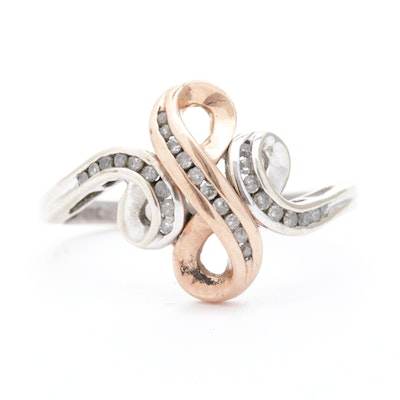 10K White Gold, Rose Gold, and Diamond Ring