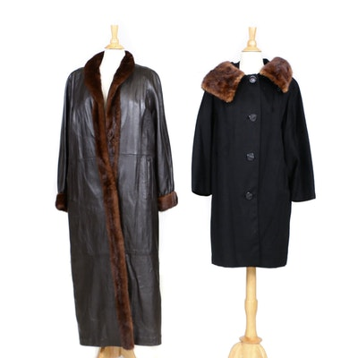Leather and Mink Fur Coat and Black Wool Coat with Marten Fur Collar, Vintage