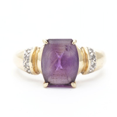 14K Yellow Gold, Amethyst and Diamond Ring