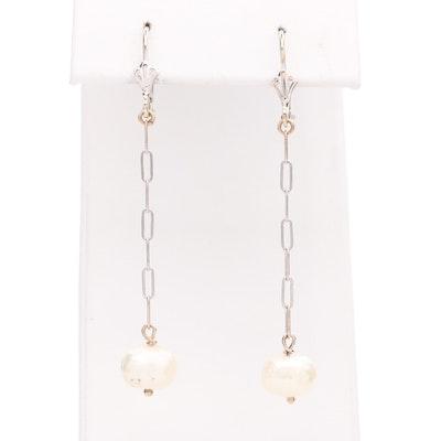 14K White Gold Cultured Pearl Dangle Earrings