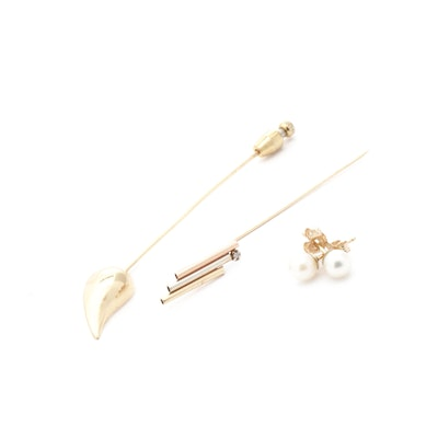 14K Gold and Diamond Pins with Cultured Pearl Earrings