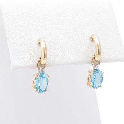14K Yellow Gold, Blue Topaz, and Diamond Earrings