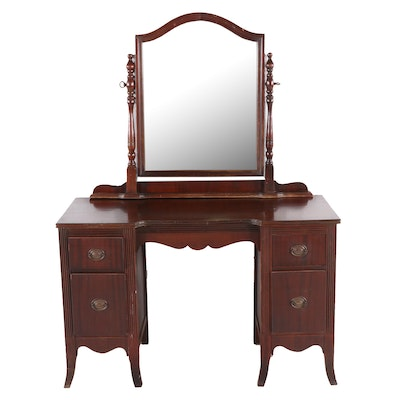 Transitional / Federal Style Mahogany Vanity Table and Mirror, Mid-20th Century