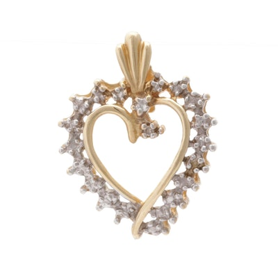 10K Yellow Gold and Diamond Pendant
