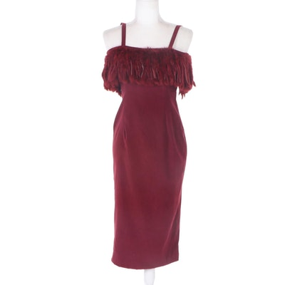 Christina Defalco Red Sleeveless Cocktail Dress with Faux Fur Trim