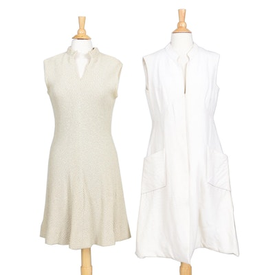 Pauline Trigère Sleeveless Dresses, 1970s Vintage