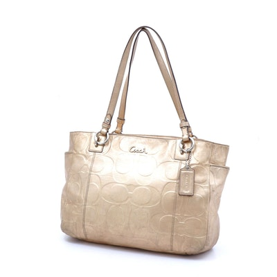 Coach Embossed Gold Metallic Leather Gallery Tote