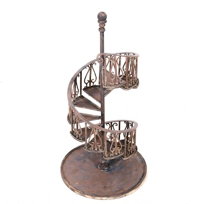 Diminutive Metal Spiral Staircase Display Stand