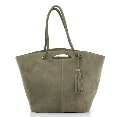 Neely & Chloe Suede Tote with Tassel and Braided Leather Straps