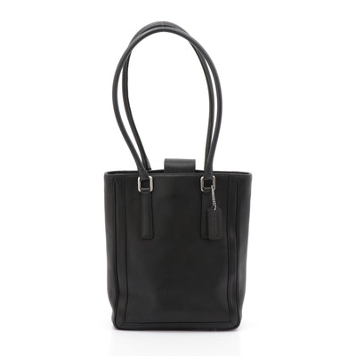 Coach Black Leather Bonnie Legacy Slim Tote Hampton Bucket Bag