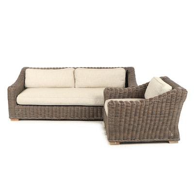 Contemporary Restoration Hardware Wicker Sofa and Armchair