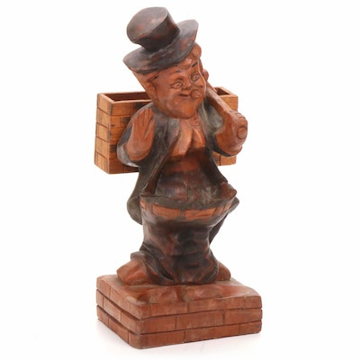 Hand-Carved Wooden Folk Art Cigarette Holder