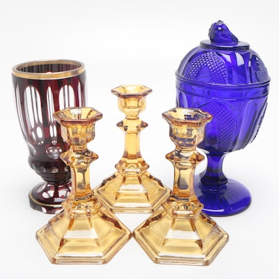 Depression Glass Candle Holders, Cased Glass Goblet and More