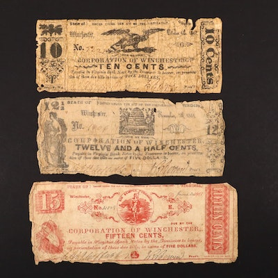 Three Different 1861 Obsolete Virginia Currency Notes
