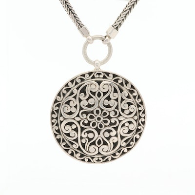 Sterling Silver Scrollwork Pendant Necklace with Foxtail Chain