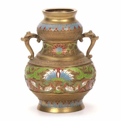 Japanese Champleve Brass Vase