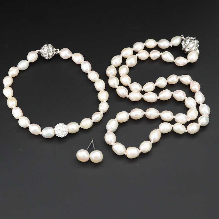 Cultured Pearl Necklace, Bracelet and Earring Set with Rhinestone Accents