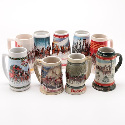 Budweiser Ceramic Christmas Holiday and Oktoberfest Beer Steins, Contemporary