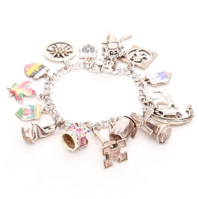 Sterling Silver Enamel Charm Bracelet Featuring Tie-Dye Maple Leaf