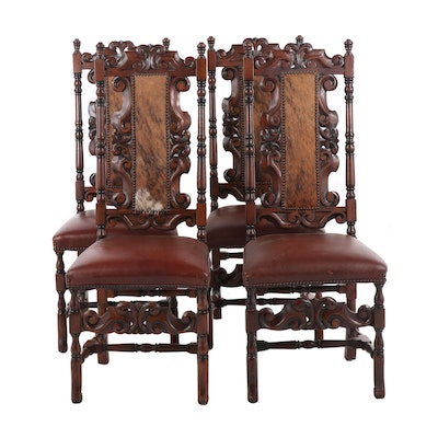 Custom Carved Wood Spanish Baroque Style Side Chairs with Cowhide and Leather