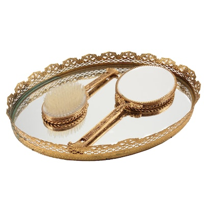 Gold Tone Vanity Set with Reticulated Tray