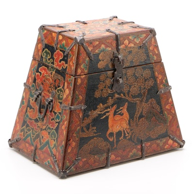 Sino-Tibetan Polychromed Pine Table Box with Deer and Dragon Motifs, Vintage