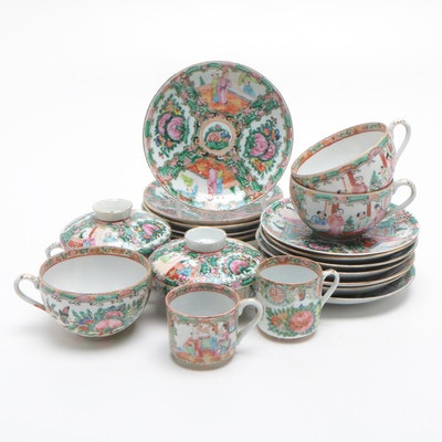 Chinese Rose Medallion Porcelain Teacups and Saucers