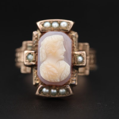Victorian 9K Rose Gold Cameo Ring