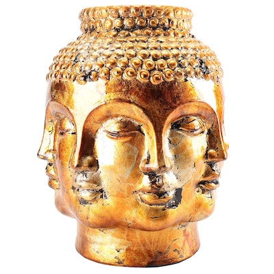 Glazed Stoneware Buddha Vase, Contemporary