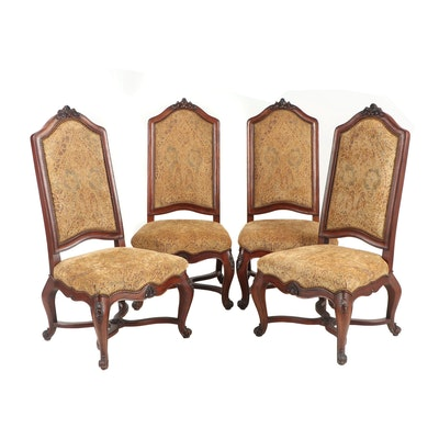 Four Henredon Louis XV Style Carved Wood and Upholstered Side Chairs