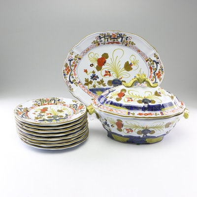 "Italian Hand-Painted ""Carnation"" Ceramic Dinnerware for Gump's"