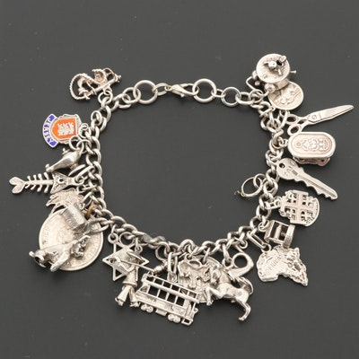 Vintage Sterling Silver Charm Bracelet with International Charms and Enamel