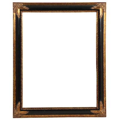 Black and Gold Painted Framed Wall Mirror