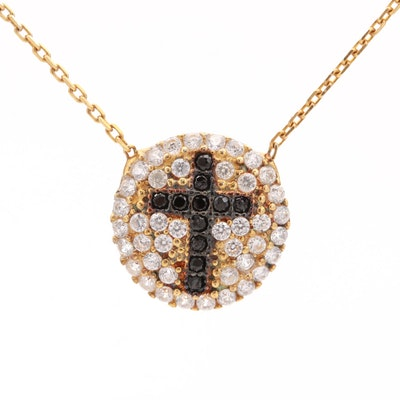 Gold Wash on Sterling Silver Cubic Zirconia Cross Pendant Necklace