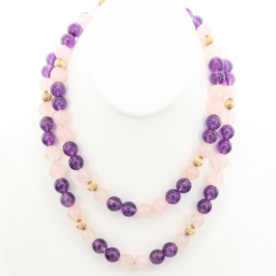 Rose Quartz and Amethyst Beaded Necklace with 14K Yellow Gold Accents
