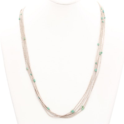 """Sterling Silver Turquoise """"Liquid Silver"""" Necklace"""