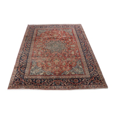Hand-Knotted Persian Qum Room Size Rug, circa 1930