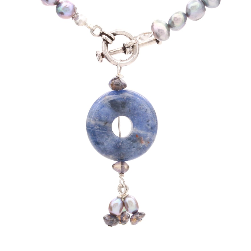 900 Silver Cultured Pearl, Sodalite, and Iolite Necklace