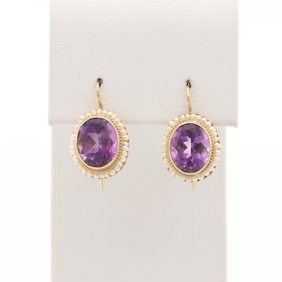 14K Yellow Gold Amethyst and Cultured Pearl Earrings