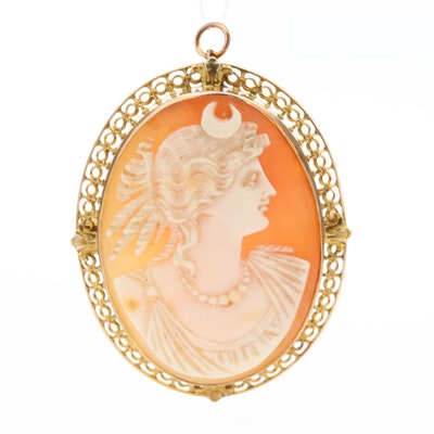 Vintage 10K Yellow Gold Helmet Shell Cameo Brooch Depicting the Goddess Diana