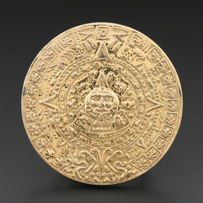 14K Gold and Sterling Mesoamerican Sun Stone Calendar Style Belt Buckle