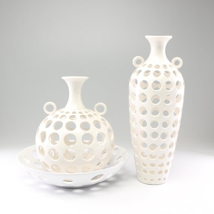 Openwork Ceramic Vases and Decorative Bowl