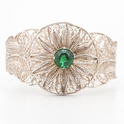 Sterling Silver Wide Filigree Hinged Bracelet with Green Glass Accent