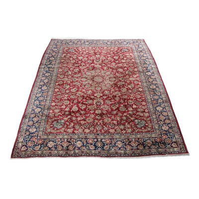 Hand-Knotted Persian Qum Room Size Rug, circa 1940