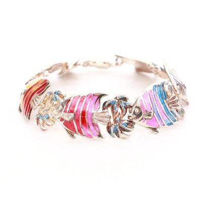 Sterling Silver Enamel Fish Bracelet