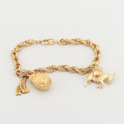 Charm Bracelet with 14K Gold Donkey Charm