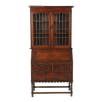 William and Mary Style Oak Secretary Bookcase, Early 20th Century