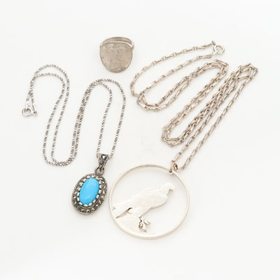 Sterling Silver Necklaces and Ring Including Mercury Silver Dime and Marcasite