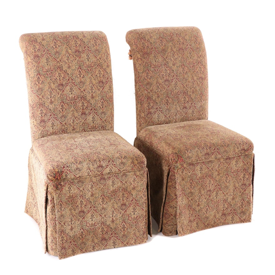 Pair of Bombay Company Upholstered Tassel Back Parsons Dining Chairs